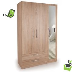 Connect Holborn 3 Door Wardrobe with 2 Drawers and Mirror - Oak #Bedroom #wardrobes