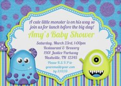 Monsters inc inspired baby shower invitation monster baby shower little monster baby shower invitation by amandacreation on etsy filmwisefo