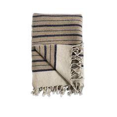 Etawah Wool Throw - Stone & Navy