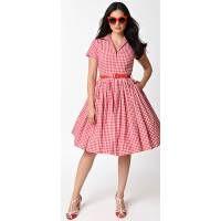 Bernie Dexter 1950s Style White & Red Gingham Swing Dress - Dresses - Clothing - Sale  | Unique Vintage