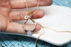 FAST SHIPPING Gold Magic Ring Holder Necklace Wedding by wirewrap