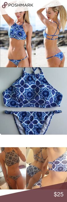Azure tile sexy Strappy bikini festival cute love no trades  ✈️ SHIPS TOMORROW Brand new!  ❓  ask any questions and comment below!!  ❗️❗️❗️brand added for reference and exposure this color is n.ot in their line of products  ❗️❗️❗️ ❌SIZE -  M- 4-6 bottom 32-36a-c top Topshop Swim Bikinis