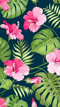 New wallpaper pattern floral tropical prints ideas Trendy Wallpaper, Pretty Wallpapers, Tumblr Wallpaper, Screen Wallpaper, Wallpaper Backgrounds, Iphone Wallpaper, Vintage Floral Wallpapers, Phone Backgrounds, Wallpaper Quotes
