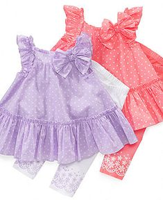 First Impressions Baby Set, Baby Girls Polka Dot Tunic and Leggings Set - Kids - Macy's