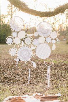 white boho dreamcatchers wedding ceremony backdrop ideas