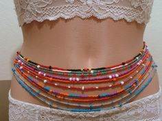 Double waist beads,Body jewelry,Belly waist beads,Body jewelry bead,Waist beads chain,Belly chains,Waist chain,African waist beads,sexy - pinned by pin4etsy.com