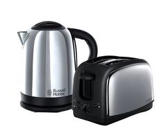 Russell Hobbs 21830 Lincoln Twin Pack Kettle And Toaster Stainless Steel - New Stainless Steel Toaster, Brushed Stainless Steel, Kitchen Tops, Kitchen Appliances, Lincoln, Kettle And Toaster Set, Russell Hobbs, British Home, Hand Blender