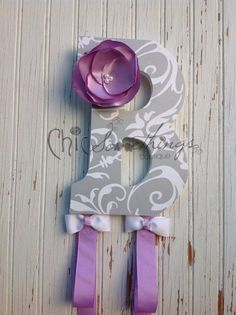 "9"" Custom Headband Bow Holder Headband Bow Organizer, Decoupage Letters, Children Initial Bow Holder Fabric Flower, baby shower gifts"