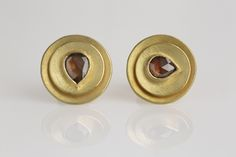 new ear studs, 18ct with pear-shaped cognac diamonds