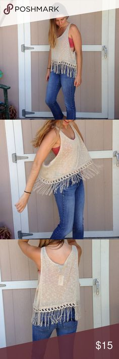 Tan fringed tank New with tags, never been worn. Forever 21 Tops Crop Tops