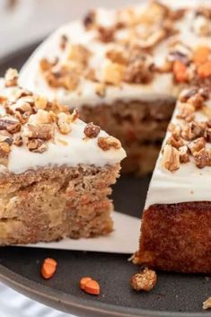 his Mini Pineapple Carrot Cake is perfect for smaller gatherings for Easter! The 6-Inch cake is moist, full of fresh carrots, and sweetened with diced pineapple and juice. The cake is finished with a light cream cheese frosting and a candied nut topping. Best Easter and Spring Dessert Recipe.