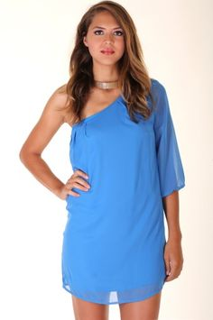 BLUE LOVELY CHIFFON DRESS WITH ONE SHOULDER WITH 3/4 SLEEVE LENGTH-Casual Dresses-casual dresses for juniors,casual dresses,comfort dress,casual elegant dress,designer dresses