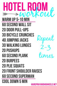 Hotel Room Workout via www.hairsprayandhighheels.com #workouts #exercise #hotelroomworkout