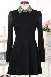 $11.35 Solid Color Beading Puff Sleeves Modern Style Polyester Turn-Down Collar Dress For Women