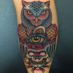 Da Vinci Tattoo, has the best Long Island, New York tattoo designs. Davinci Tattoo has tattoos, tattoos designs, and tattoo sketches. Owl Skull Tattoos, Bird Tattoos Arm, Tatoos, Traditional Sleeve, Neo Traditional Tattoo, American Traditional, Traditional Art, Owl Tattoo Design, Tattoo Designs