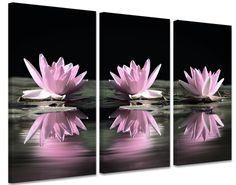 Schilderij Roze Waterlelies op canvas (drieluik)