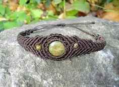 Bracelet homme femme en macramé marron pierre semi-précieuse d'Unakite : Bracelet par stonanka
