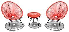 Acapulco 3 Piece Retro Patio Chat Set, Atomic Tangerine modern-patio-furniture-and-outdoor-furniture