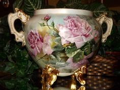 Limoges Monumental Jardiniere with Exquisite Pink Roses from allthingslovelee on Ruby Lane