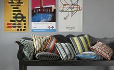 Marylebone Cushion Neon Orange   Shop Cushions   Underground Cushions   Kirkby Design   Durable High Performance Fabrics