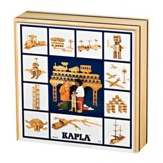 100 pieces box Kapla  Starting from the fact that three layers equals its width ad that five layers equals its length, it is therefore possible to create a whole lot of objects: a fortified castle, a figurine, a racetrack? Made in pine tree wood from the Landes region of France, these 100 KAPLA planks with construction designs will keep your children's imagination going. From 4 to 12 years old.
