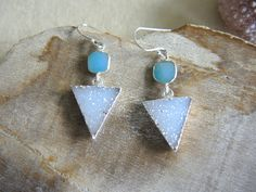 Druzy Earrings, Jasper Quartz Druzy Triangle Earrings,Sterling Silver Earrings, Geometric Jewelry, Blue Agate Earrings, Jewelry Gift For Her by GemJewelrybyHWestNY on Etsy