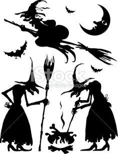 Sorcière, Halloween, Silhouette, Sorcier, Chauve-souris Illustration vectorielle libre de droits