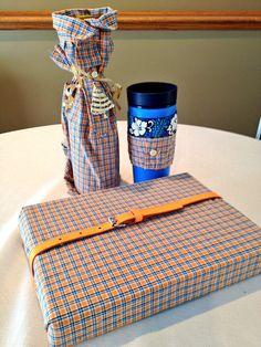 #Green gift wrap-  1 Shirt, 3 Ways... Gift wrap, bottle wrap, coffee sleeve. #reuse