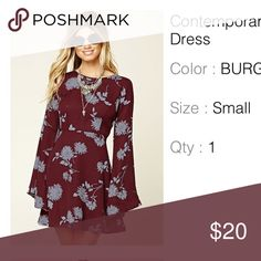 Contemporary Floral Print Dress Brand new. Never worn. Tags still attached. Burgundy color with purple flowers Forever 21 Dresses Long Sleeve