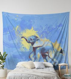 Featuring my digital painting of a cute little elephant walking happily on a blue background. Suitable for indoor and outdoor use and machine washable. The perfect wall decor! Elephant Walk, Little Elephant, Baby Elephant, Colorful Wall Art, Tapestries, Blue Backgrounds, Artwork Prints, Animals Beautiful, Wall Tapestry