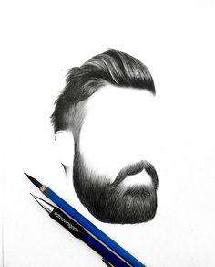 Hair, moustache and beard.