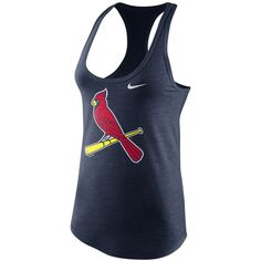 Nike Women's St. Louis Cardinals Tri-Blend Tank Top ($30) ❤ liked on Polyvore featuring activewear, activewear tops, navy, logo sportswear, nike activewear, nike and nike sportswear