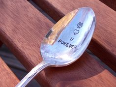 Owl Love You Forever Spoon  Hand Stamped Vintage by BlockandHammer