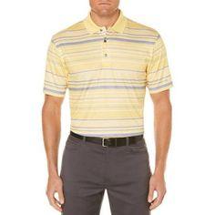 Ben Hogan Men's Bigs Performance Short Sleeve Heathered Printed Striped Golf Polo, Yellow