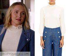 Nashville: Season 4 Episode 16 Juliette's White Ruffle Neck Sweater
