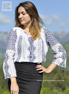 Worldwide delivery for embroidered romanian peasant blouses, folk costume, Romanian folklore and embroidery , ethnic fashion store Peasant Blouse, Blouse Dress, Folk Costume, Embroidered Blouse, Ethnic Fashion, Traditional Outfits, Tunic Tops, Fashion Outfits, My Style