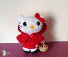 Hello Kitty Amigurumi Roodkapje, Gratis Patroon