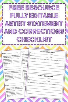 Fully editable simple artist statement in 2 sizes and teacher correction checklist to help students with revisions. #artiststatmenttemplate #elementaryartiststatement Art Curriculum, Punctuation, Teacher Pay Teachers, Sentences, Bliss, Students, Templates, Learning, Store