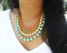 Coral & Aqua Layered Spring Necklace by augustroseshop on etsy