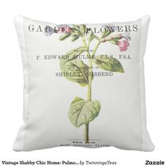 Vintage Shabby Chic Home: Pulmonaria Throw Pillow