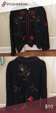 """Embroidered wool cardigan Pretty wool zip up cardigan. Could use some shaving to remove mild pilling. Approximately 25"""" from shoulder seam to bottom hem. Sleeves approximately 24"""" long. 100% boiled wool. tally ho Sweaters Cardigans"""