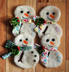 Needle Felted Snowman Ornaments | Flickr - Photo Sharing!