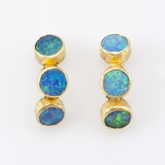 Bosch  Australian opal 22k gold bezel earrings