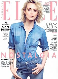 Taylor Schilling in denim on denim for Elle Canada