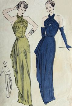 1940s GORGEOUS EVENING DRESS PATTERN DRAPED BODICE SECTIONS, CRISS CROSSED AROUND NECK, SIDE CASCADE DRAPED TOTALLY STUNNING VOGUE SPECIAL DESIGN PATTERNS 4725
