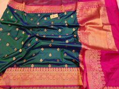 No photo description available. Silk Kurti Designs, Saree Blouse Neck Designs, Saree Blouse Patterns, Designer Blouse Patterns, Blue Silk Saree, Soft Silk Sarees, Silk Saree Kanchipuram, Banaras Sarees, Lakshmi Sarees
