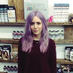 Gemma Styles in 'Bruised Violet' by Bleach London.