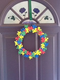 Wreath for Autism Awareness Month.