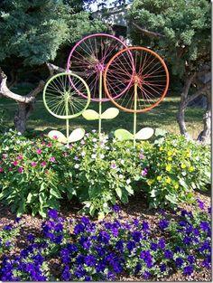 Rueda de bicicleta Art Jardín - Magnolias de acero