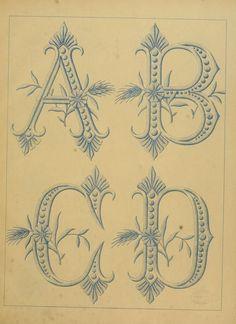 """Vintage Letters A-D ~ From """"L'Art dans la Lingerie : Dessins de Broderie"""", ca. 1896"""